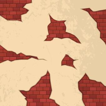 Grietas de ladrillo en la ilustración de la pared