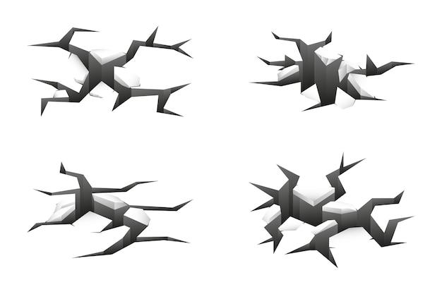 Grietas de tierra 3d en blanco