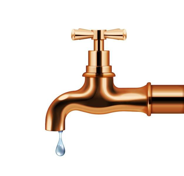 Grifo de agua de cobre con agua que gotea objeto aislado realista en estilo retro aislado