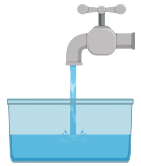 Grifo y agua del grifo en balde