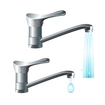 Grifos de metal brillante con fuerte caudal de agua y gran caída. equipo de fontanería de casa de alta calidad para baño y cocina aislado realista.