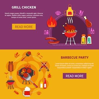 Grill chiken en barbacoa fiesta plana