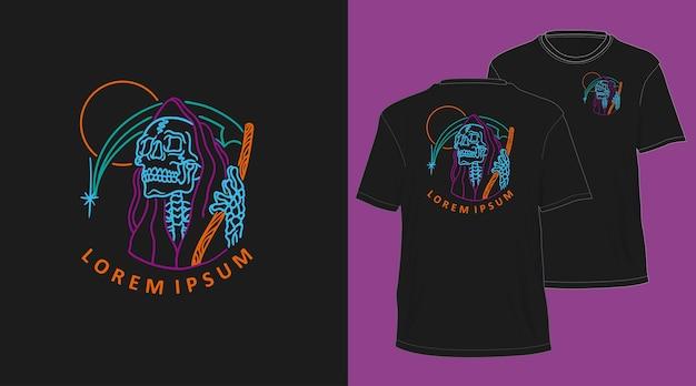 Grim reaper neon monoline diseño de camiseta dibujada a mano