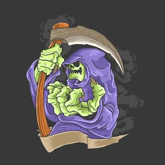 Grim reaper con su arma ilustración