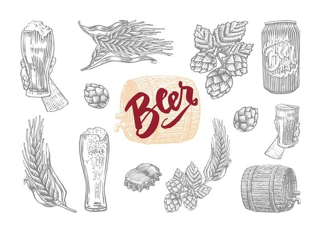 Gris aislado en estilo grabado conjunto de cerveza con elementos de los cuales prepara cerveza