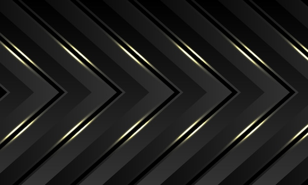 Gris oscuro oro luz flecha patrón dirección lujo futurista fondo.