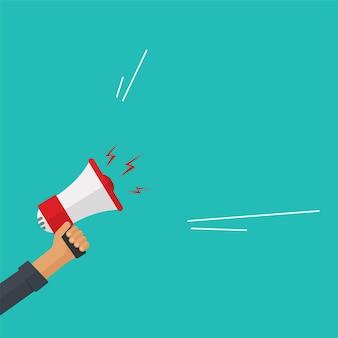 Grito fuerte o atención del anuncio de la ilustración del altavoz del megáfono