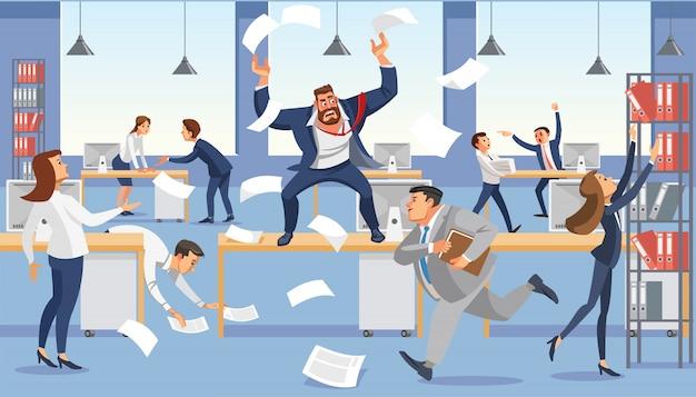Grito de jefe enojado en la oficina del caos debido a la fecha límite de falla.