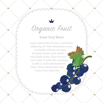 Grosella negra colorida textura acuarela naturaleza fruta orgánica memo marco