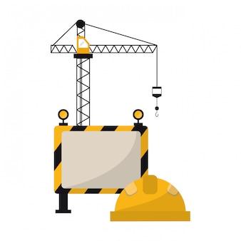 Grúa de construcción y casco con cartel en blanco