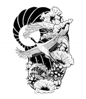 Grúa de corona roja con dibujo vectorial de loto a mano.