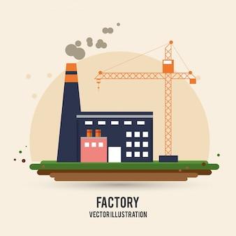 Grúa de la planta que construye el icono de la industria de fábrica de la chimenea