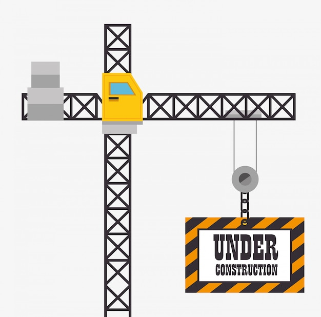 Grúa espera bajo signo de construcción