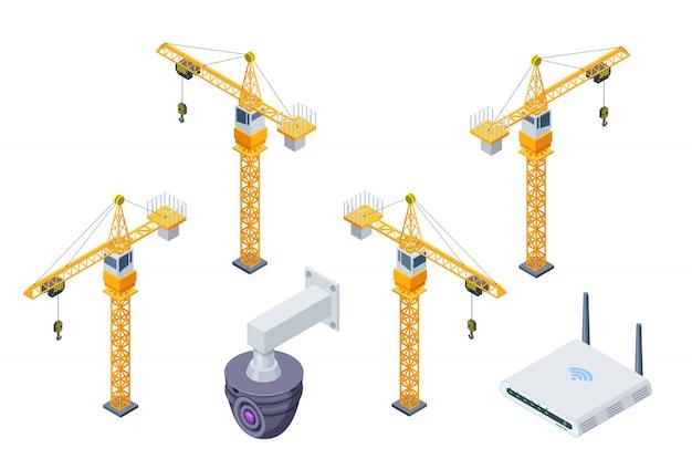 Grua torre construcción, vigilancia seguridad