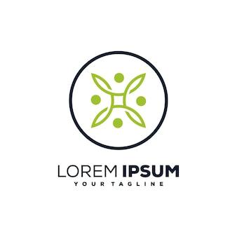 Grub de defensa, círculo de personas diseño de logotipo verde