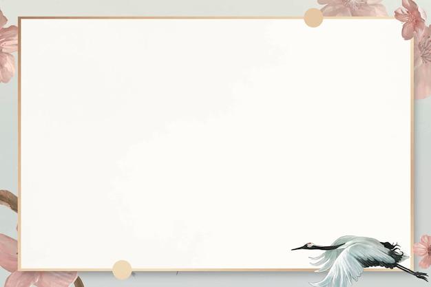 Grulla japonesa blanca con plantilla de marco de patrón de malvaviscos