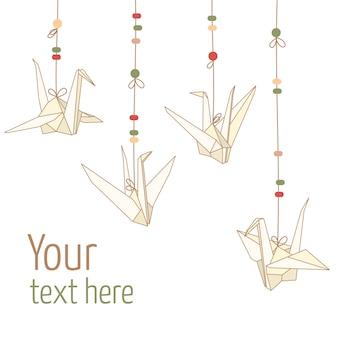 Grullas de papel de origami colgantes