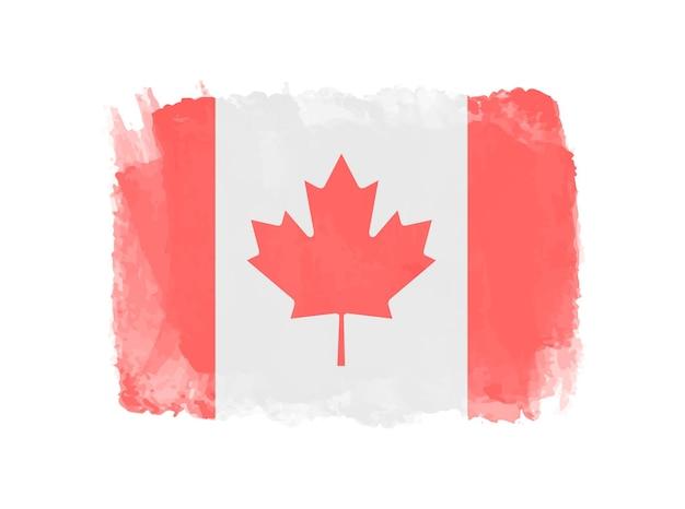 Grunge, acuarela, bandera de canadá
