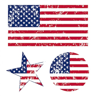 Grunge banderas americanas ilustración