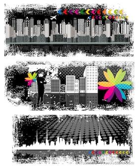 Grunge diseño de banners conjunto de fondos de vector urbano