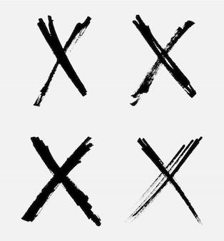 Grunge letra x iconos