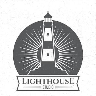Grunge lighthous silueta logotipo o etiqueta