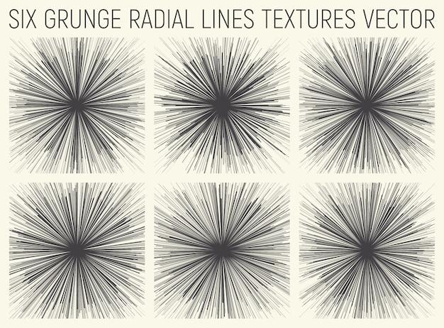 Grunge líneas radiales texturas vector