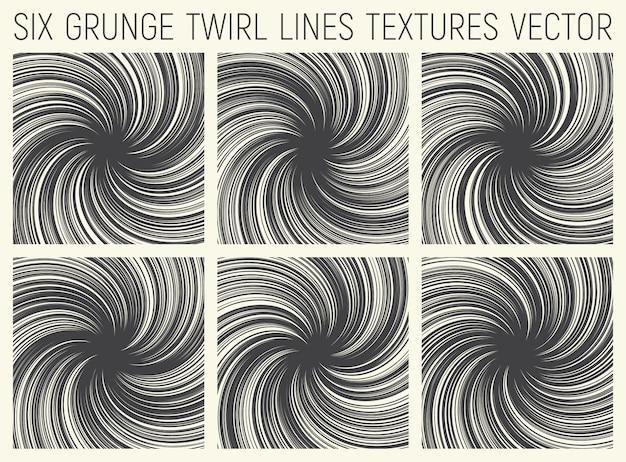 Grunge twirl líneas texturas vector set