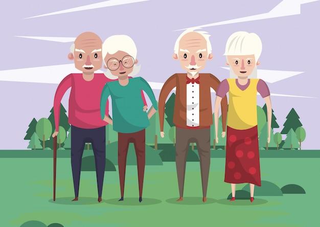 Grupo de abuelos parejas amantes en el campo
