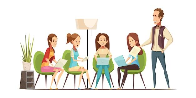 Grupo de adolescentes con aparatos electrónicos que asisten a la clase del taller en el centro juvenil, ilustración vectorial de dibujos animados retro