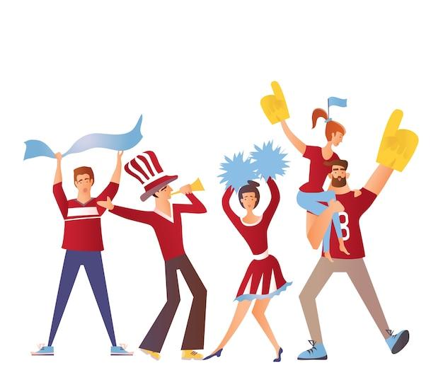 Grupo de aficionados al deporte con atributos de fútbol animando al equipo. personaje de dibujos animados plano.