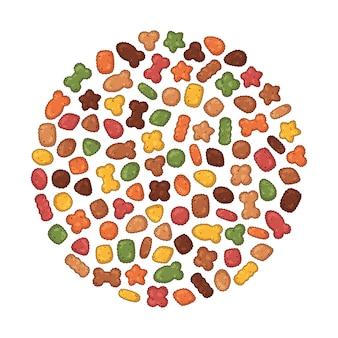Grupo de alimentos secos vector para gatos y perros.