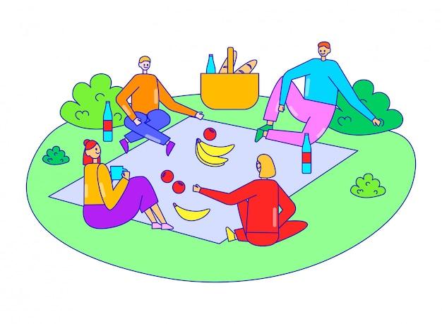 Grupo amigo relajarse juntos tiempo de picnic corporativo, personaje masculino femenino divertido fiesta al aire libre en blanco, ilustración de línea.