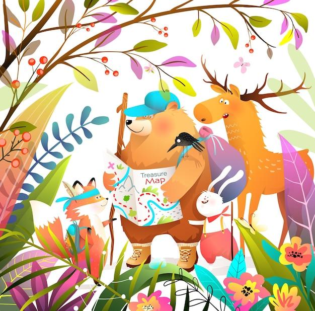 Grupo de amigos de animales en el bosque de senderismo con mapa, en busca de tesoros. oso zorro conejo y aventuras de alces, dibujos animados para niños y libro para niños