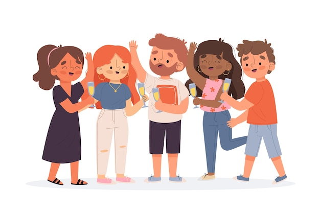 Grupo de amigos brindando juntos ilustración