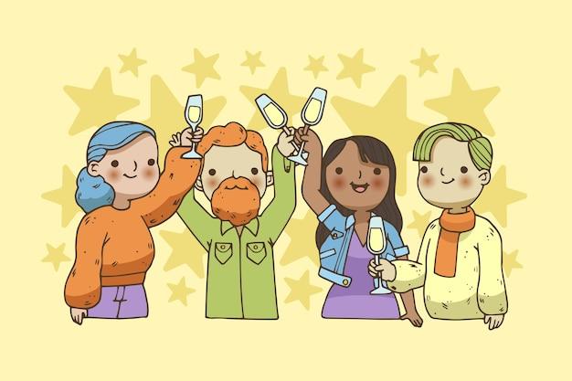 Grupo de amigos brindando juntos