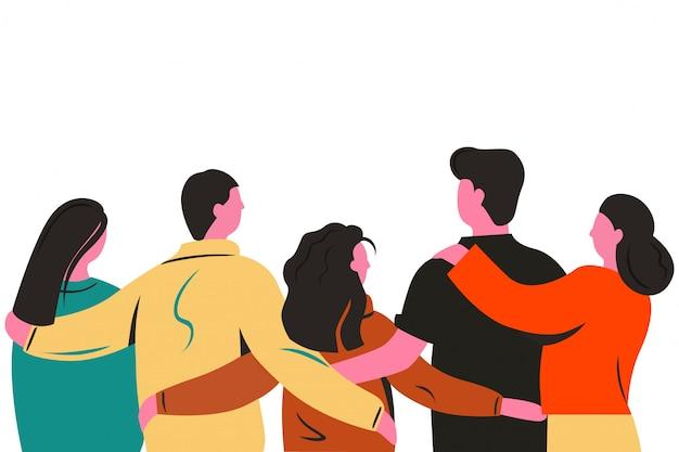 Grupo de amigos de dibujos animados de pie y abrazándose juntos ver ilustración plana