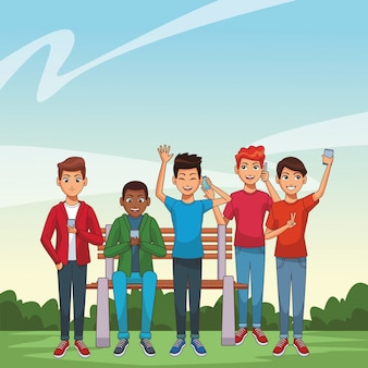 Grupo de amigos de dibujos animados