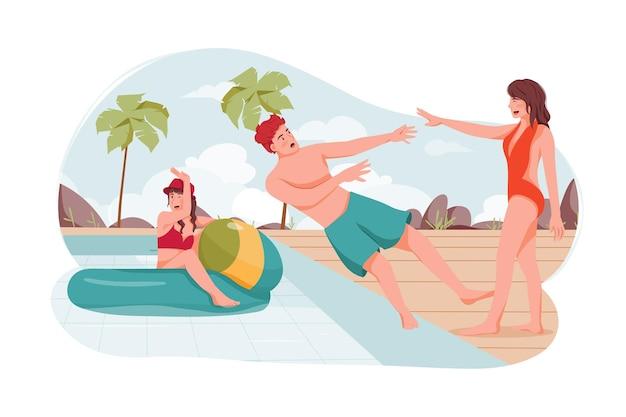Grupo de amigos disfrutan juntos de la fiesta en la piscina en verano