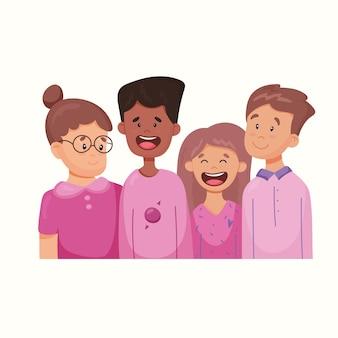 Un grupo de amigos. ilustración de vector de estilo plano