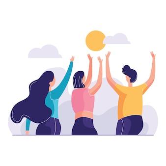 Grupo de amigos levantando los brazos