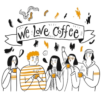 Un grupo de amigos o personas a las que les gusta tomar café.