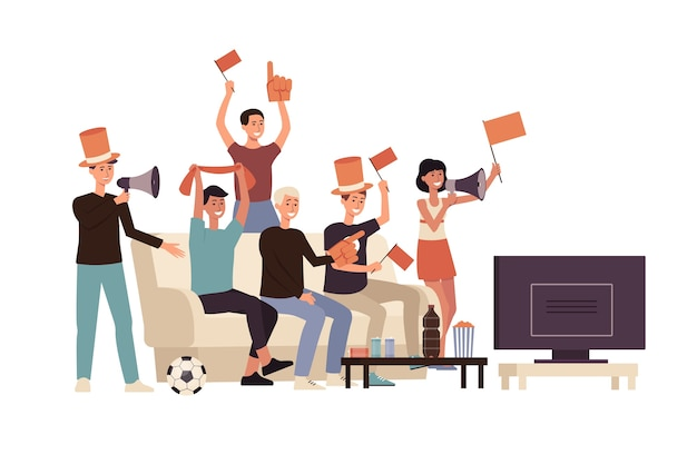 Grupo de amigos de personas de dibujos animados viendo fútbol