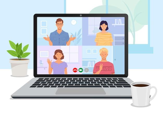 Un grupo de amigos se reúne y charla a través de una videoconferencia usando una computadora portátil.