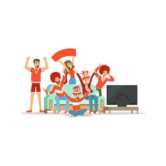 Grupo de amigos viendo deportes en la televisión y celebrando la victoria en casa. personas vestidas de rojo apoyando a su equipo deportivo favorito ilustración