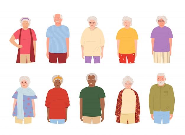 Grupo de ancianos, ancianos conjunto de dibujos animados. abuelos representantes de diferentes naciones personas mayores