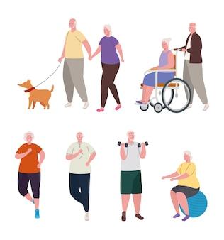 Grupo de ancianos practicando diferentes actividades.