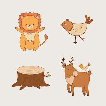 Grupo de animales del bosque