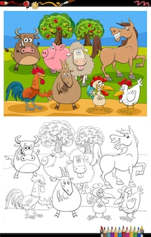 Grupo de animales de granja de dibujos animados página de libro para colorear