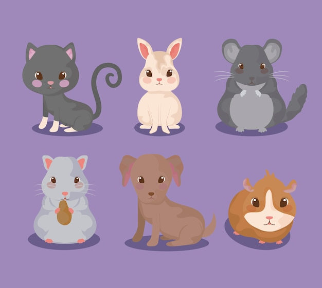 Grupo de animales lindos del bebé